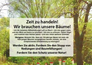 Titel Flyer Baumfaellungen